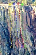 Rock Climbing Photo: Yellow - Gnarnian Renaissance Blue - Trebuchet Red...
