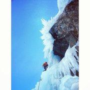 Rock Climbing Photo: Vincent climbing through the thin section on Sickl...