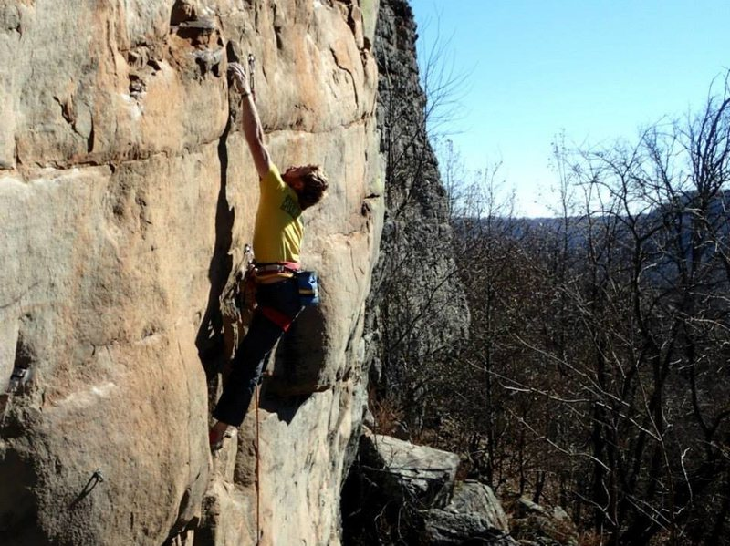 "Rock Climbing Photo: Tyler making the ""long dynamic"" crux mov..."