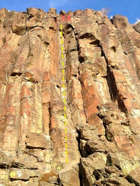 Rock Climbing Photo: The route.  Climb dihedral to chains.