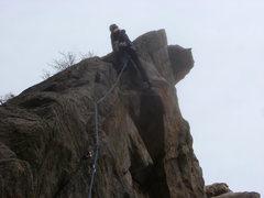 Rock Climbing Photo: Dana nearing the crux.