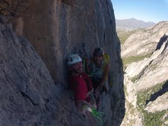 Rock Climbing Photo: At the 5 pitch belay station of BCB. Awesome view!