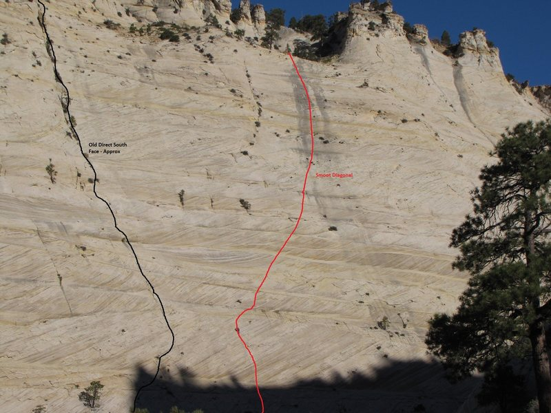 South Face of The Great White Throne showing 'old', 'unsafe' direct route compared to better Smoot Diagonal.