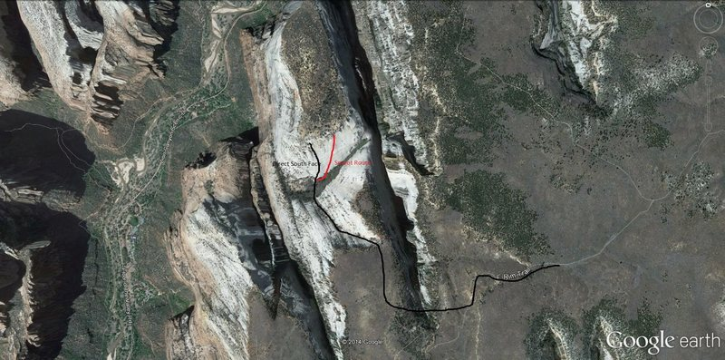 Google Earth showing approach and south face of The Great White Throne