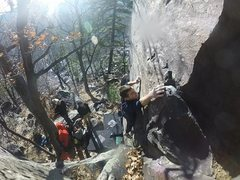 Rock Climbing Photo: Getting to the good hold. We avoided the big ledge...