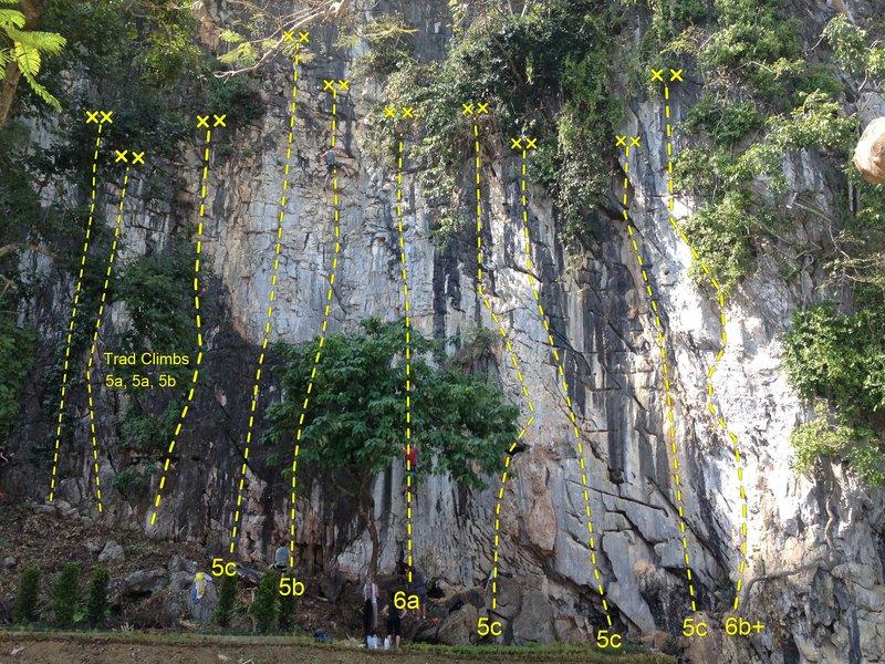 Main Wall, Tham Pla, Chiang Rai Rock Climbing Topo