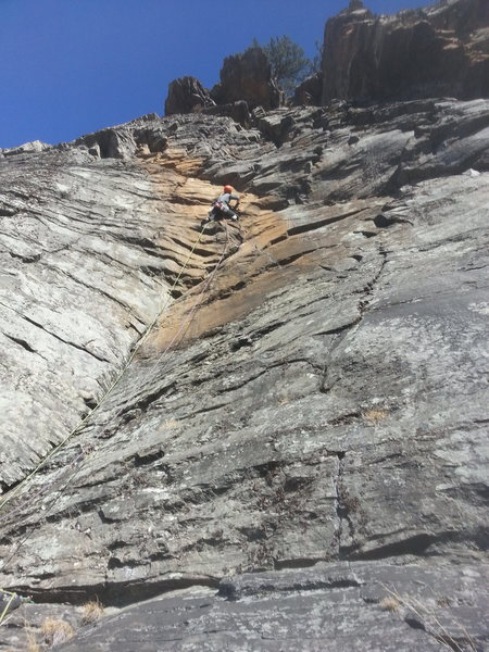 Phil on the crux pitch.