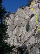 Rock Climbing Photo: Victimless Crime. Only the first bolt, crux bolt, ...