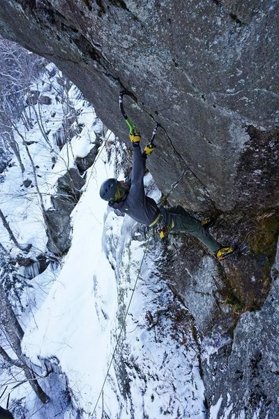 In the crux section near the top <br> <br> Photo: Alan Spadafora