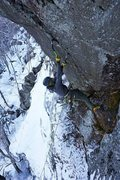 Rock Climbing Photo: In the crux section near the top   Photo: Alan Spa...