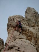 Rock Climbing Photo: Nice shallow clippin' ledge at the anchor on Sipid...