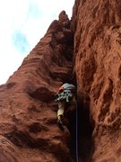 Rock Climbing Photo: Setting cams.  Read the data, but we only used thr...