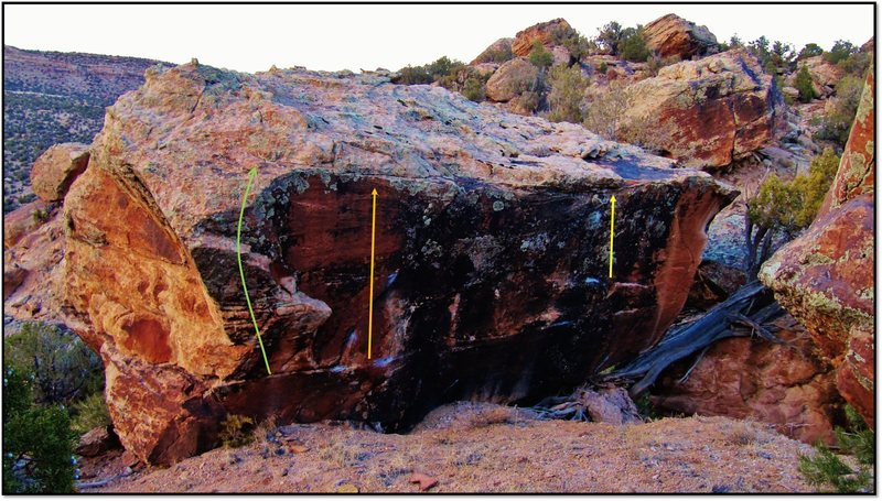 Rock Climbing Photo: Own The Space problem beta in yellow.