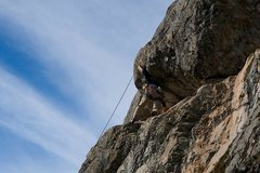 Rock Climbing Photo: Darryl unclipping the traverse bolt on TR (Photo: ...