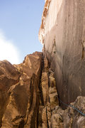Rock Climbing Photo: Early chimney pitch on Epinephrine, tight-ish sque...