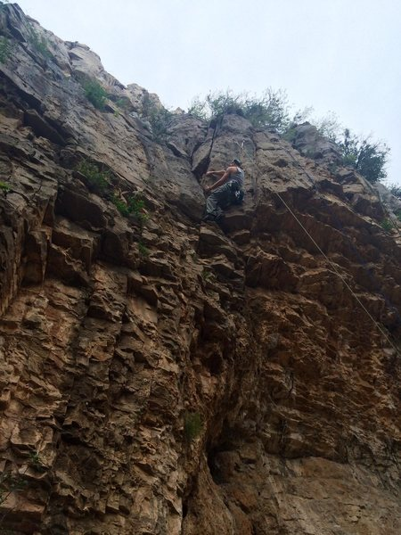 Rock Climbing Photo: Wendel right past the third bolt, almost at the an...
