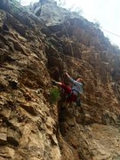 Rock Climbing Photo: Bri snags the really nice jug on the left of the m...