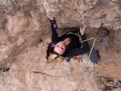Rock Climbing Photo: Deanna pulling through the left pocket.