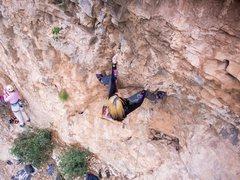 Rock Climbing Photo: Deanna pulling through the left pocket.