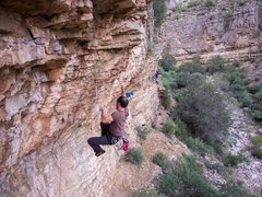 Rock Climbing Photo: This is a difficult route to find the next moves s...