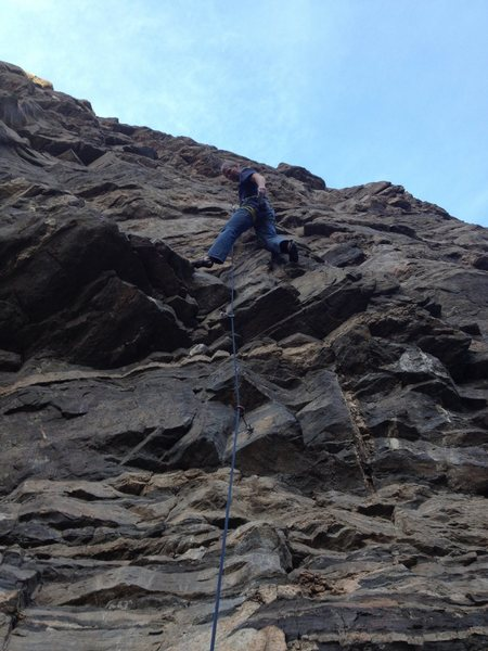 Mark just above the crux at the third bolt.