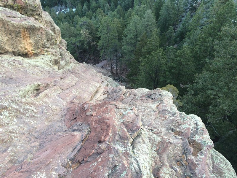 Rock Climbing Photo: Looking down the crux section.