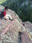Rock Climbing Photo: Here is where we traversed onto the East Ridge. Se...