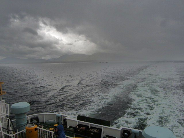 Leaving a dark stormy day on the Mull Ferry