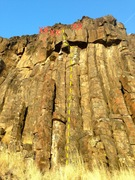 Rock Climbing Photo: The route.  Climb the hand crack until you are und...