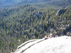 Rock Climbing Photo: Kel and Melissa atop pitch 4.