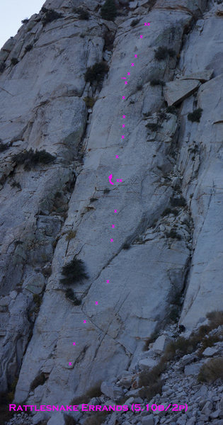 Rattlesnake Errands (5.10b) - two pitches of fun slab climbing