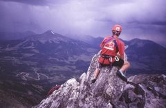 Rock Climbing Photo: Summit of the Beehive with a storm rolling in over...