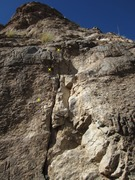 Rock Climbing Photo: View up route w 1st 3 bolts marked.
