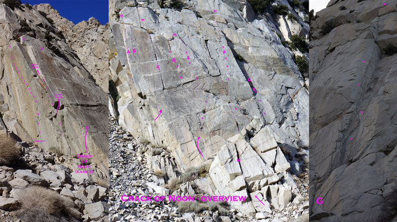 Rock Climbing Photo: Crack Of Noon Overview w. approx. bolt locations a...