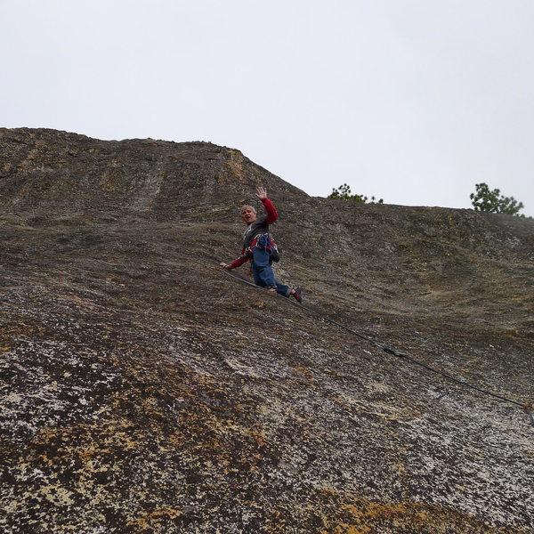Rock Climbing Photo: Mike Arechiga on a fun 5.8 on Enchanted Rock