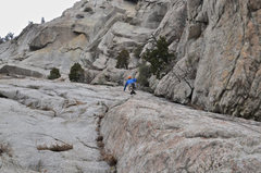 Rock Climbing Photo: Nate on the approach to Texas flake. can you spot ...