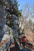 Rock Climbing Photo: Still not at the first bolt, but the climbing is e...