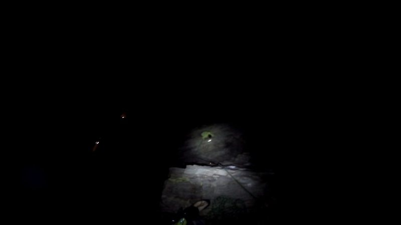 Rock Climbing Photo: Mayer on midpoint of P4 during a cold winter night...