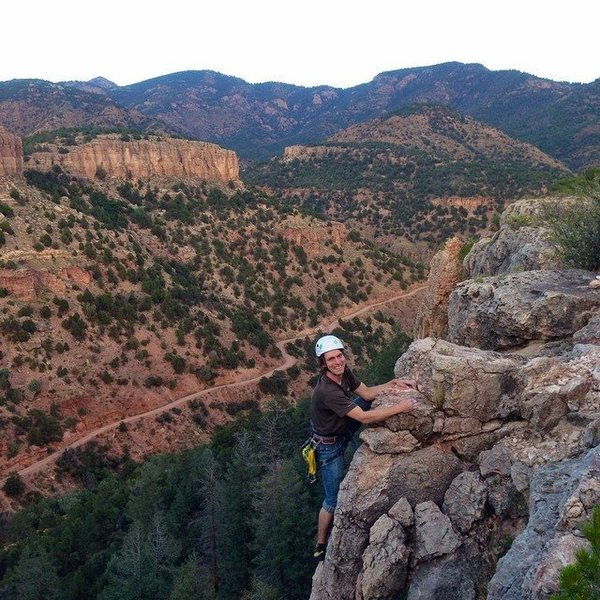"""Topping out on """"27 Tons"""" on The Dark Side wall of Shelf Road, CO"""