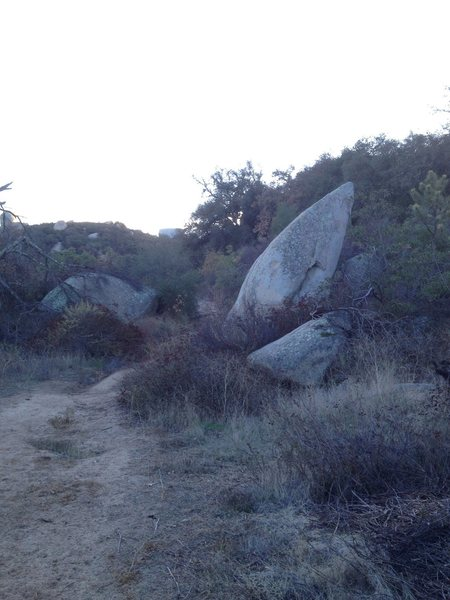 The Boulder- vantage point of looking back on the dirt road that you'll be walking down on