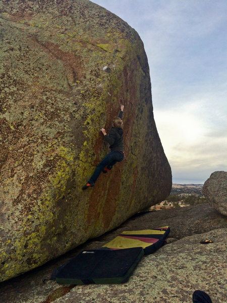 Rock Climbing Photo: Me pulling the crux move of Murphy's Law.