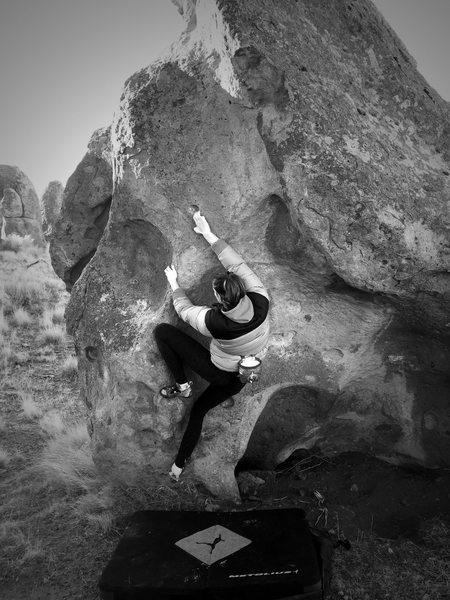 Steph on Ramp boulder
