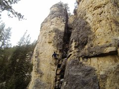 Rock Climbing Photo: Crimp with compression, get a foot up, slap up the...