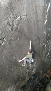 """Rock Climbing Photo: Taylor cruxing on """"The Slow Spring"""""""