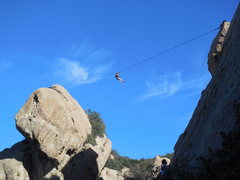 Rock Climbing Photo: Highliner high over the Corpse Wall at Saddle Peak...