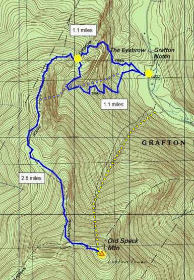 Topo of Grafton Notch and Old Speck<br> <br> (Route in yellow, App&@POUND@39@SEMICOLON@lchn Trail in blue@SEMICOLON@ RHall ME Admin)