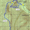Topo of Grafton Notch and Old Speck<br> <br> (Route in yellow, App&#39;lchn Trail in blue; RHall ME Admin)