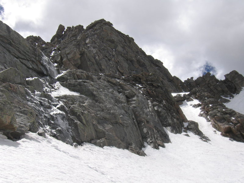 On left first band/crux of The Snave Direct with Telepherique to be above@SEMICOLON@ left fork of The Crystal Couloir is on the right.