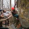 Carl getting his share of The Never Ending Biscuit V4, near Top Rock, Nockamixon. Dec 2014. danallardphoto.com