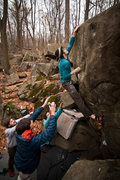 Rock Climbing Photo: 86 snags the top move on Of Mice and Men (V7) at H...